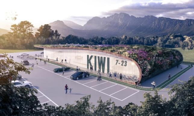 NY STANDARD: Om ett år åpner Kiwi en ny miljøbutikk i Hokksund utenfor Drammen. Også denne til passivhusstandard, og med blomstereng på taket. Hokksund er forøvrig stedet der den første Kiwi-butikken ble åpnet. Illustrasjon: A-Lab.