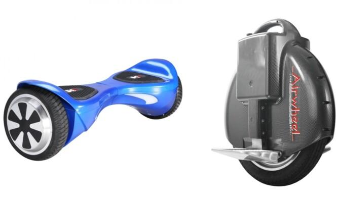 POPULÆRE STÅHJULINGER: Hoverboard og enhjuling er to eksempler på kjøretøy som kommer inn under det nye regelverket. Foto: Produsentene