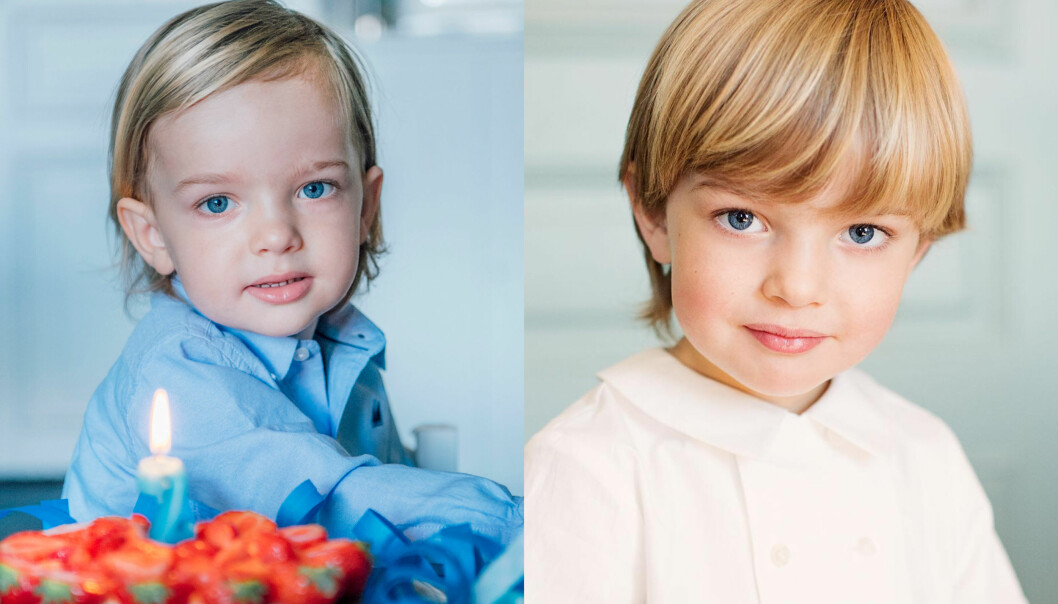 <strong>VOKSER:</strong> Prins Nicolas av Sverige har vokst betydelig siden det forrige bursdagsbildet ble delt av ham. Til venstre er han to år, mens det nye bildet til høyre tydelig viser at han har vokst. Foto: Kate Gabor, Erika Gerdemark / Kungahuset.se