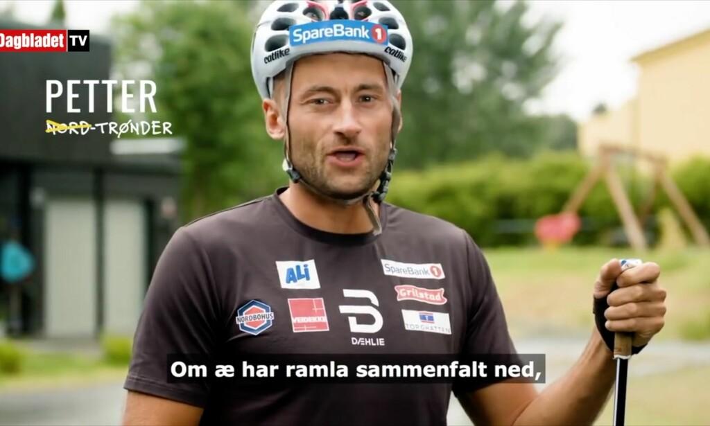 SYNGER: Petter Northug er blant kjendisene som synger med på «Trønder»-låta. Foto: Skjermdump fra «Trønder»