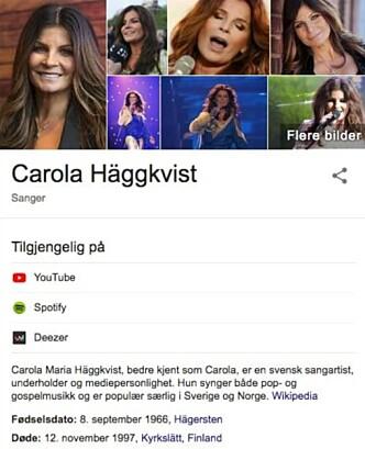 DØD: Slik så det ut på Carolas side på Google. Foto: Skjermdump, Google