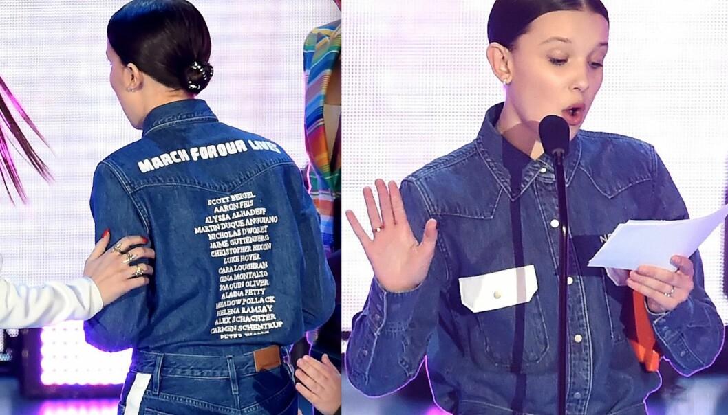 OFRE: Millie Bobby Brown hadde navnet på de 17 menneskene som mistet livet i skoleskytingen på skjorta si. Foto: NTB Scanpix