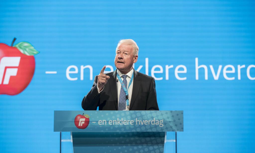 Carl I Hagen under et innlegg på Fremskrittspartiets landsmøte. Foto: Vidar Ruud / NTB scanpix