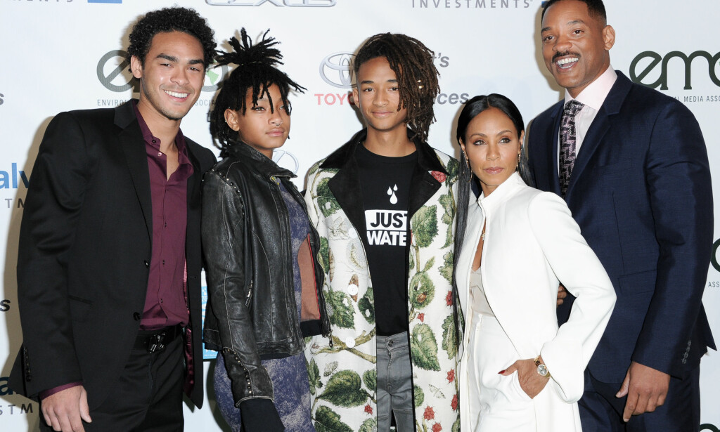 FAMILIEN: Fra venstre: Trey Smith, Willow Smith, Jaden Smith, Jada Pinkett Smith og Will Smith fotografert i 2016. Foto: NTB Scanpix