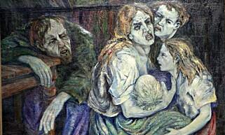 UEGNET? Oslo mener at Aksel Waldemar Johannessen er uegnet i offentlige rom. Er det fordi bildene kan virke karikerte og heslige i skildringen av en fattig arbeiderklassehverdag for 100 år siden? Her ser vi en mor som forsøker å holde familien sammen, mens far er forfyllet på sidelinjen.