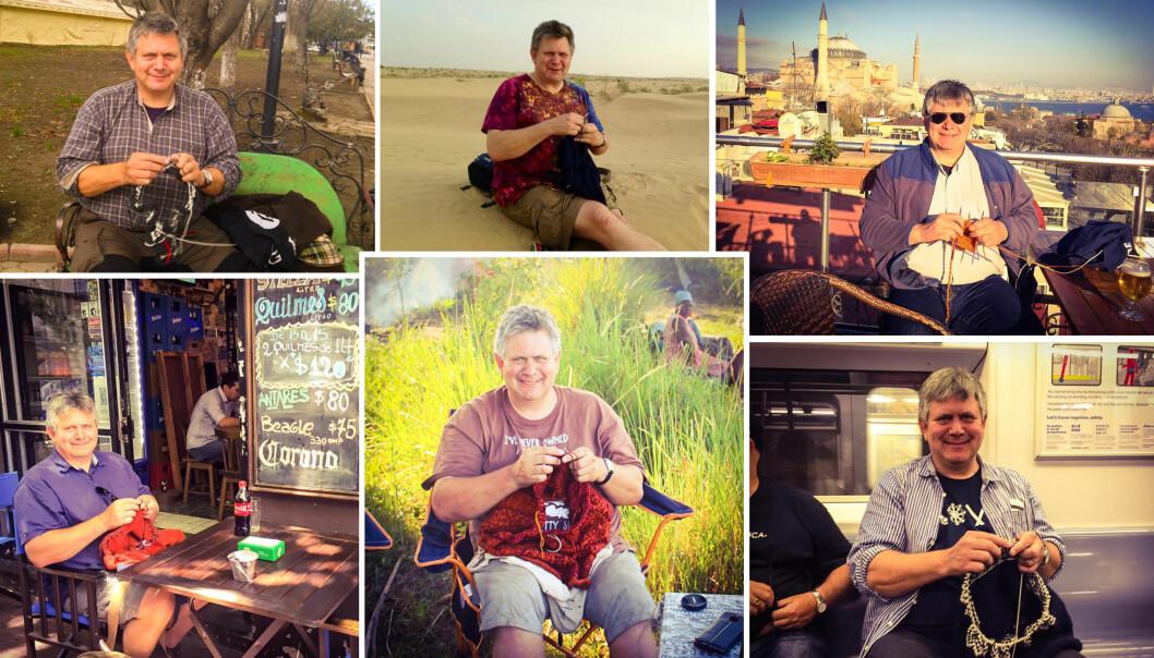 <strong>STRIKKER VERDEN RUNDT:</strong> På cafe i Buenos Aires, t-banen i New York eller en strand i India: Strikketøyet er alltid med. FOTO: Privat / Facebook