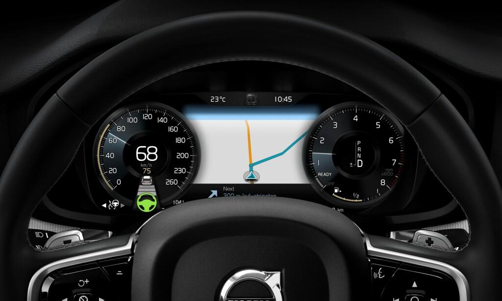 DIGITALT: Instrumentpanelet er en digital informasjonssentral. Foto: Volvo