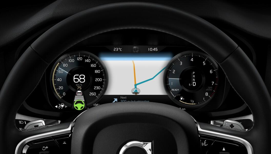 <strong>DIGITALT:</strong> Instrumentpanelet er en digital informasjonssentral. Foto: Volvo