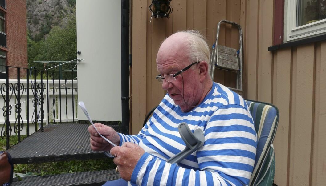 <strong>VANSKELIG:</strong> Rjukan-pensjonisten har verken data, pass eller førerkort. Foto: Privat