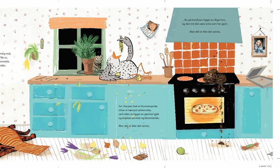 RAMPETE DYR: Dyra snur kjøkkenet på hodet, i bildeboka «Du tror det ikke før du får se det». Utsnitt fra boka