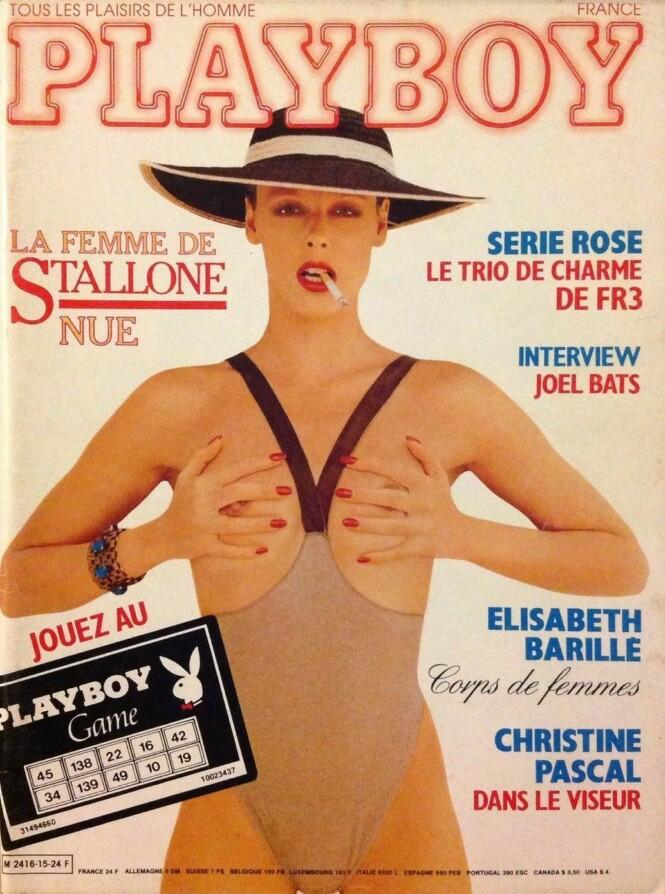 MODELL: Brigitte Nielsen har blant annet samarbeidet med store designere som Giorgio Armani og Gianni Versace. Her avbildet på forsiden av Playboy. Foto: Faksimile