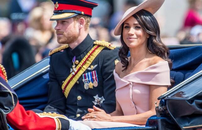 STJAL SHOWET: Et av Meghans første oppdrag som hertuginnen av Sussex, var under dronningens høytidelige bursdagsparade tidligere i måneden. Foto: NTB Scanpix
