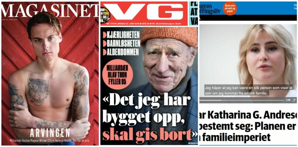 SØKKRIKE: Gustav Witzøe, Olav Thon og Katharina Andresen. Foto: Faksimiler fra Dagbladet, VG og dn.no.