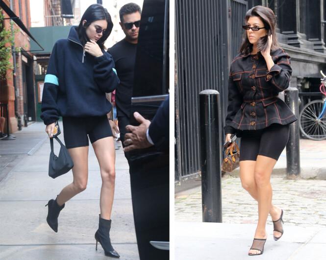 SYKKELSHORTS-SØSTRE: Kendall Jenner (t.v.) og Kourtney Kardashian (t.h.) har tolket sykkelshortstrenden på hver sin måte. Foto: Scanpix