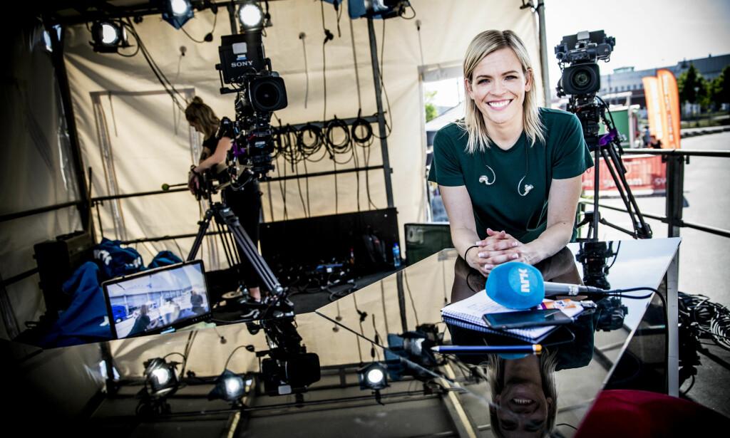 VINNER TV-KAMPEN: NRK og programleder Carina Olset vinner tv-kampen mot TV 2 i fotball-VM. Foto: Christian Roth Christensen