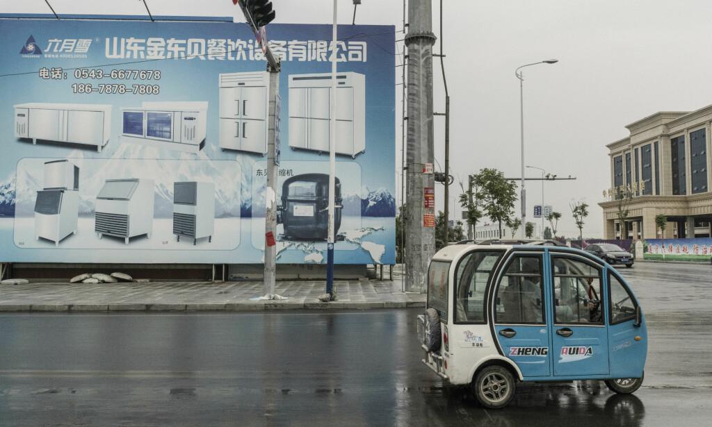 KJØLESKAP: Store reklameplakater for en lokal kjøleskapfabrikk i Xingfu, Kina. Foto: Gilles Sabrie / The New York Times / NTB Scanpix
