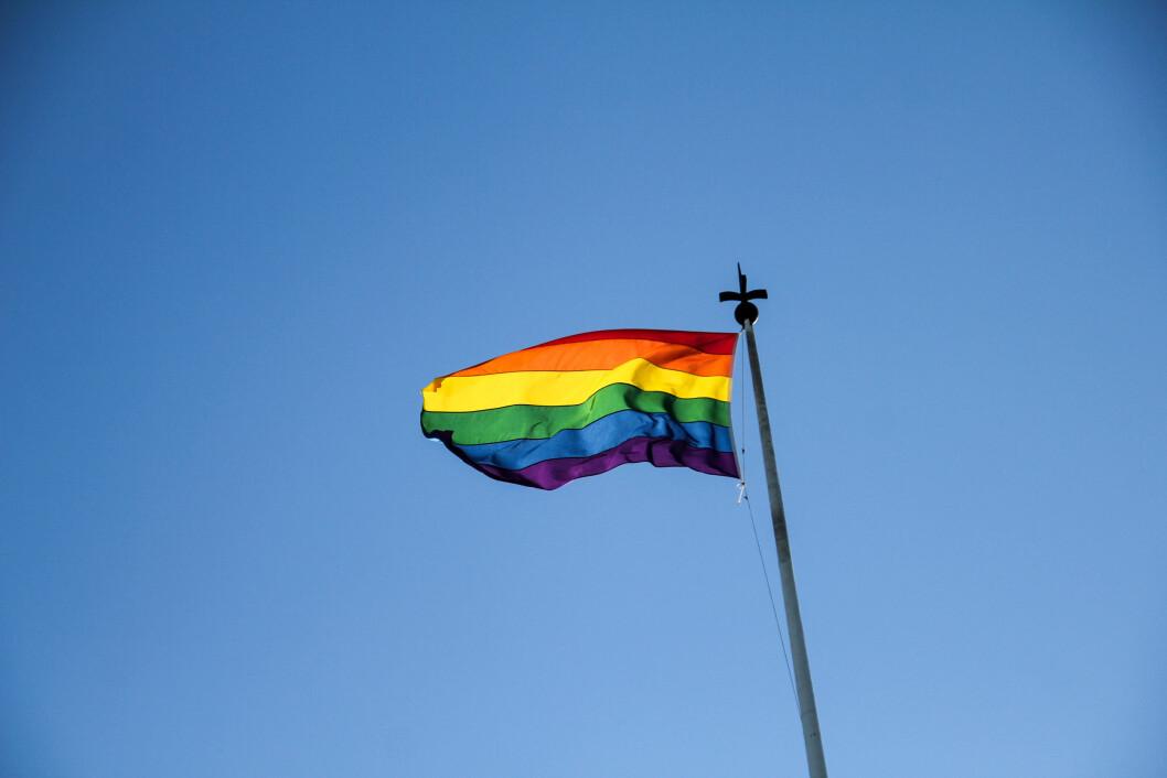 <strong>FLAGGET:</strong> Pride-flagget vaiet i vinden over Høyres hus. Foto: Camilla Hjelmeseth
