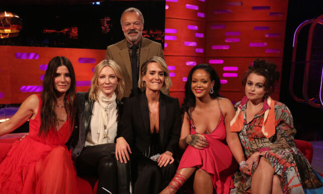 Host Graham Norton with (seated left to right) Sandra Bullock, Cate Blanchett, Sarah Paulson, Rihanna and Helena Bonham Carter during filming for the Graham Norton Show at BBC Studioworks in London, to be aired on BBC One on Friday. PRESS ASSOCIATION. Picture date: Thursday June 14, 2018. Photo credit should read: PA Images on behalf of So TV