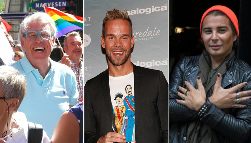 <strong>PRIDE:</strong> Finn Schjøll, Morten Hegseth Riiber og Erlend Elias Bragstad er alltid med å feire Pride. På lørdag er det duket for den store Pride-paraden. Foto: NTB Scanpix, Instagram