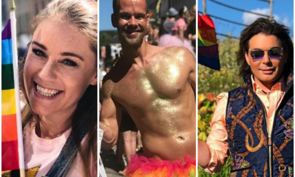 KJENDISENE FEIRET: Ida Fladen, Morten Hegseth og Erlend Elias var noen av de som markerte Pride. Foto: Instagram