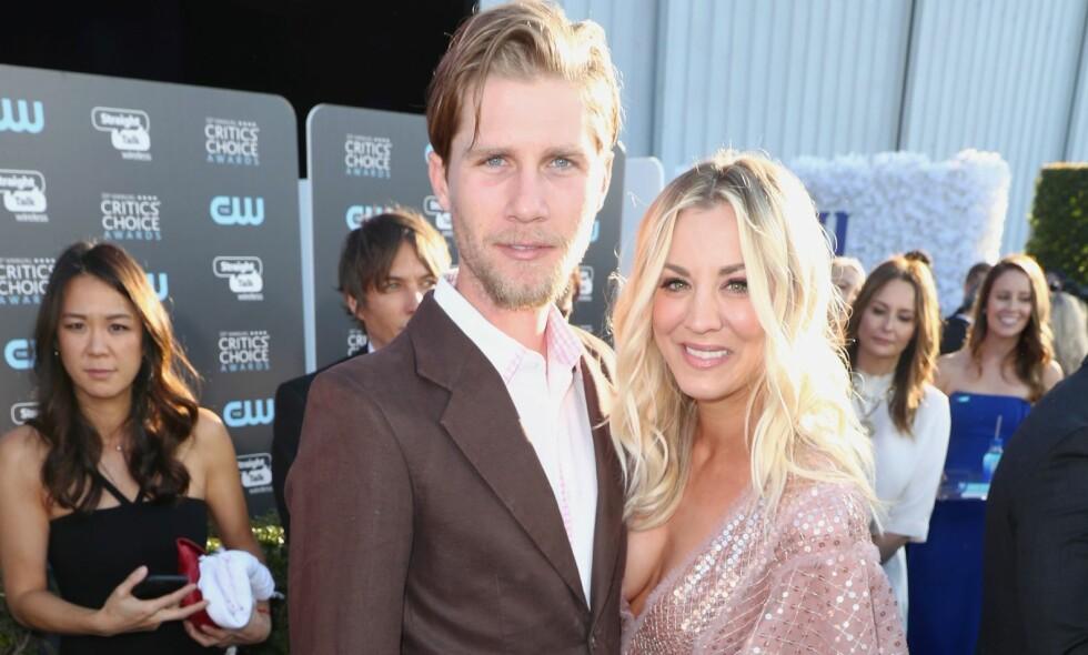 BLE MANN OG KONE: Denne helgen giftet skuespiller Kaley Cuoco seg med Karl Cooks. Foto: NTB Scanpix
