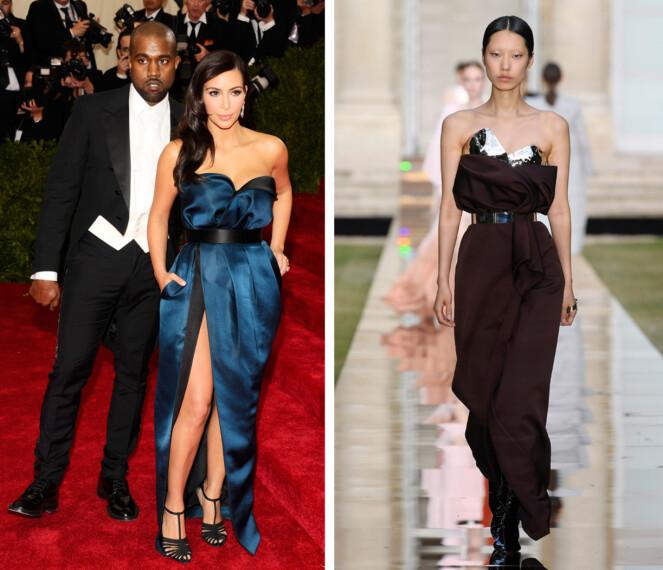 2014 vs 2018: Kanskje velger Kim Kardashian kjolen som ligner på en hun har brukt før? Foto: Scanpix