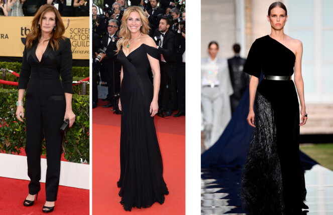 JULIA ROBERTS: Skuespilleren er glad i sorte antrekk, så du skal ikke se bort ifra at denne kjolen (t.v.) blir å se på henne. Foto: Scanpix