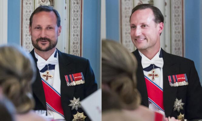 <strong>FORANDRING:</strong> Kronprins Haakon ankom den storslåtte gallamiddagen med skjegg, men dro hjem uten. Foto: Heiko Junge / NTB scanpix