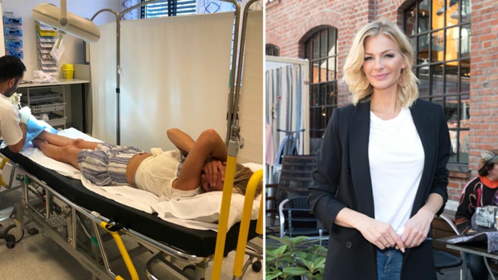 MÅTTE PÅ SYKEHUS: Kathrine Sørland endte på sykehus da hun egentlig gjorde seg klar til en avslappende start på sommerferien. Foto: Privat/ Andreas Fadum, Se og Hør