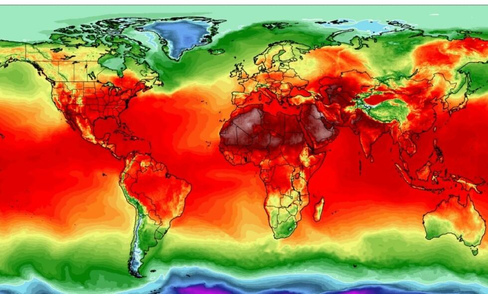 I GÅR: Det har vært rekordvarmt en rekke steder i verden de siste ukene. Her værkart fra i går, fra Climate Change Institute, University of Maine Climate Reanalyzer.