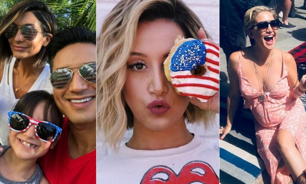 <strong>PATRIOTISKE:</strong> Kjendisenes sosiale medier-kontoer flommer over av bilder fra gårsdagens nasjonaldagsfeiring. Foto: Skjermdump / Instagram