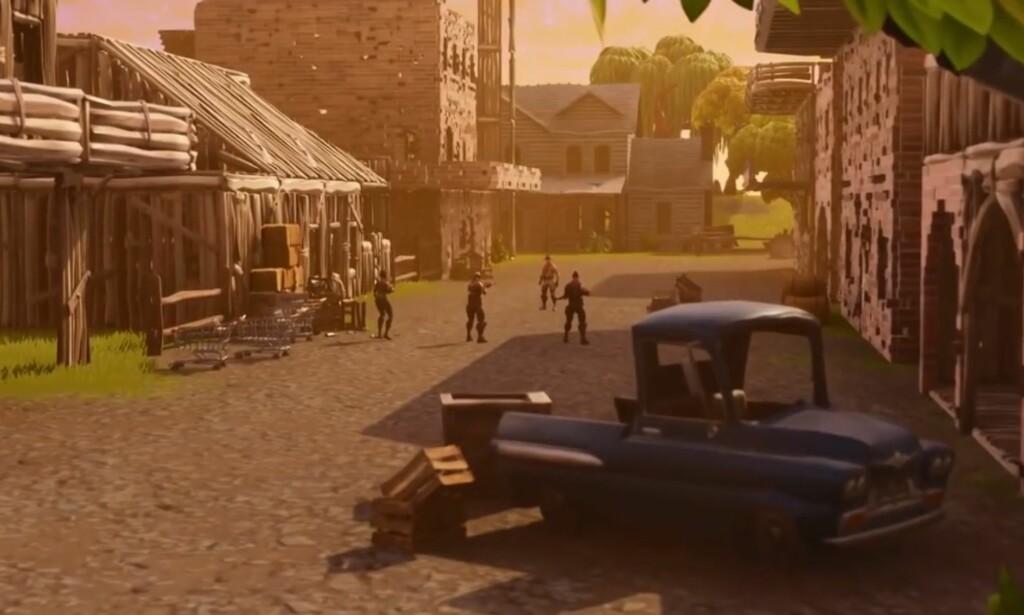 VILLE VESTEN: I Epic Games sin nyeste trailer for «Fortnite» sin sandkasse-modus, hinter de selv til en setting i vesten, med pistoldueller og brune bygg. Foto: Epic Games