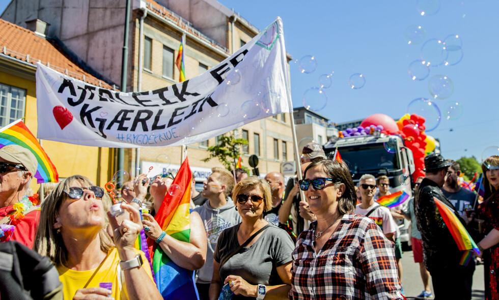 SKEIV KJÆRLIGHET: Også i kirken finnes det stemmer som slår et slag for et mer humant syn på skeiv kjærlighet. Men de er så altfor få, skriver artikkelforfatteren. Her fra årets Pride-festival i Oslo. Foto: Stian Lysberg Solum / NTB Scanpix