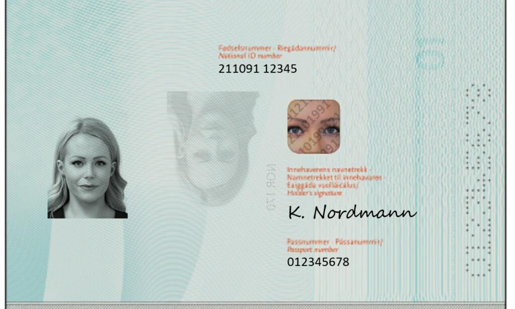 Navn og nummer: Slik blir det nye norske passets side 2 og 3. Foto: Politiet