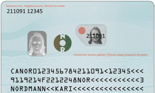 Baksiden av kortet: Slik blir baksiden av de nye id-kortet. Foto: Politiet