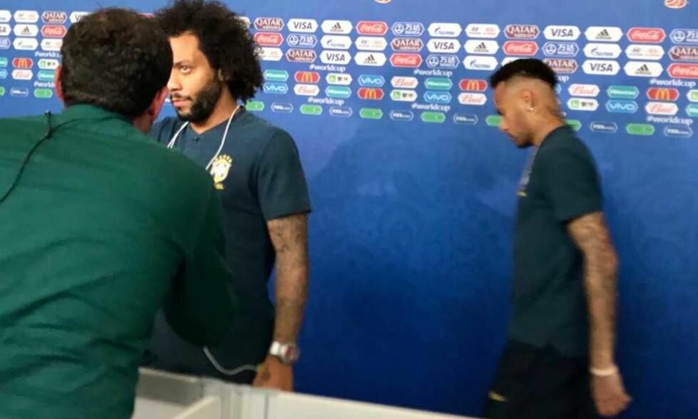 LANGT NEDE: Neymar (til høyre) ville bare bort og vekk etter kvartfinaletapet for Belgia.