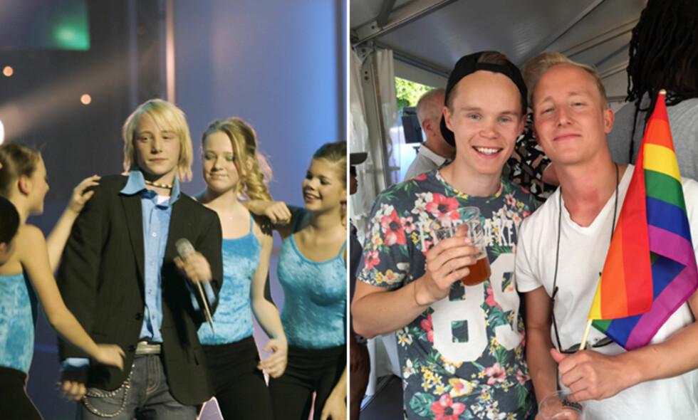 14 ÅR SENERE: Aleksander Moberg sjarmerte ungpikehjertene da han stakk av med seieren i Melodi Grand Prix junior i 2004. I dag ser han helt annerledes ut. Foto: NTB Scanpix, Privat