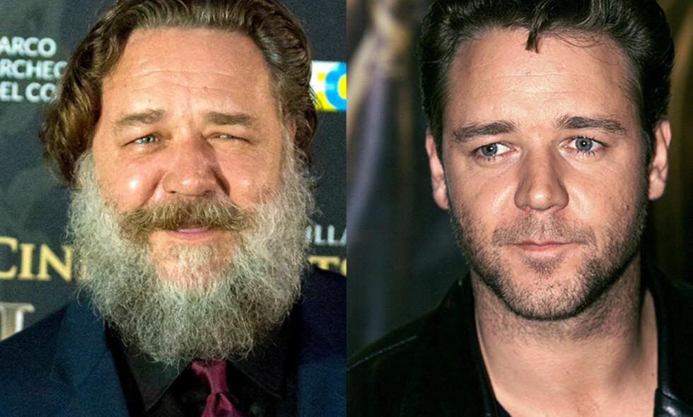 UGJENKJENNELIG: Russell Crowes nye utseende vekker oppsikt. Bildet til venstre ble tatt i sommer, mens det til høyre er fra 2000. Mye har skjedd på 18 år, og spesielt de siste månedene. Foto: NTB scanpix