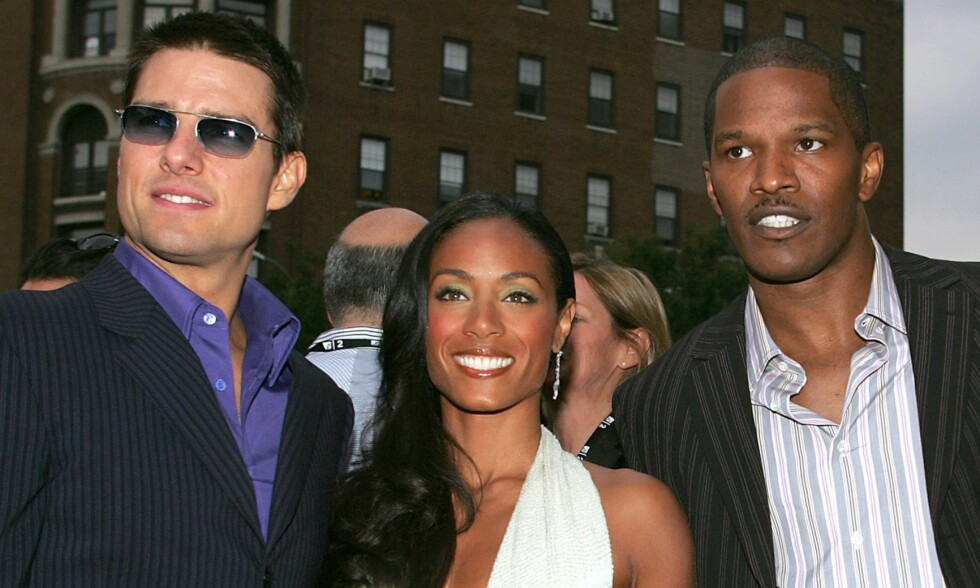 SLAPP UNNA: Jamie Foxx (t.h.) ble i juni anmeldt av en kvinne som hevdet at han hadde slått henne i ansiktet med kjønnsorganet sitt. Nå er saken henlagt. Her med «Collateral»-motspillerne Tom Cruise og Jada Pinkett Smith j 2004. Foto: Reuters/ NTB scanpix