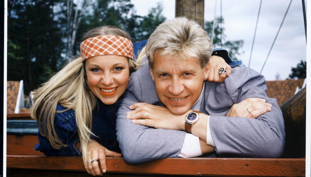 JOBBET SAMMEN: Janne og Terje har vært meget sentrale i «Kaptein Sabeltann» helt siden starten i 1990. Her er far og datter avbildet i 1994. Foto: Se og Hør/ Arkiv