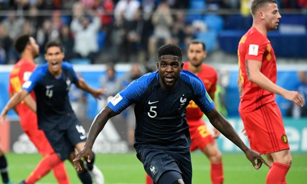 MATCHVINNER: Samuel Umtiti headet inn 1-0 til Frankrike. Det sto seg kampen ut. Foto: NTB scanpix