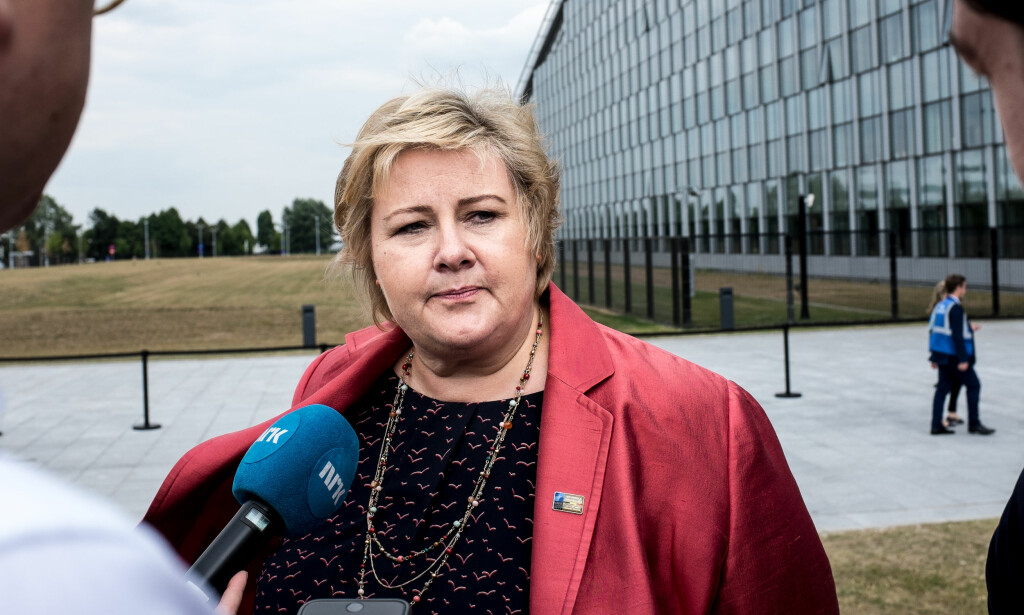 MØTET: - Trumps budskap var kort. Men han sa at han var veldig glad i både Nato og Europa, sier Erna Solberg om dagens møte med Nato-lederne. Foto: Jesper Nordahl Finsveen / Dagbladet