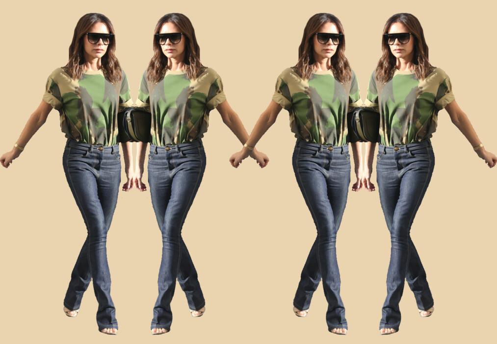 JEANSTRENDER: Victoria Beckham ble nylig sett i en slim flare-variant. Foto: Scanpix