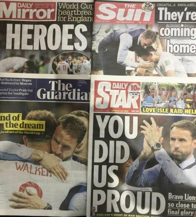 DAGENS AVISER: Britene er stolte av spillerne og laget. Foto: Morten P