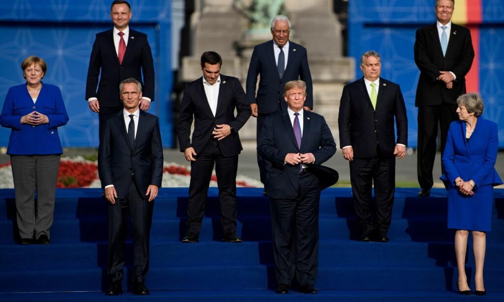 ENIGE TIL SLUTT: Etter en utblåsing om pengebruk og byrdefordeling i dag var USAs president særdeles fornøyd. Her et utsnitt av Nato-familien. Foto: Brendan Smialowski / AFP / NTB Scanpix
