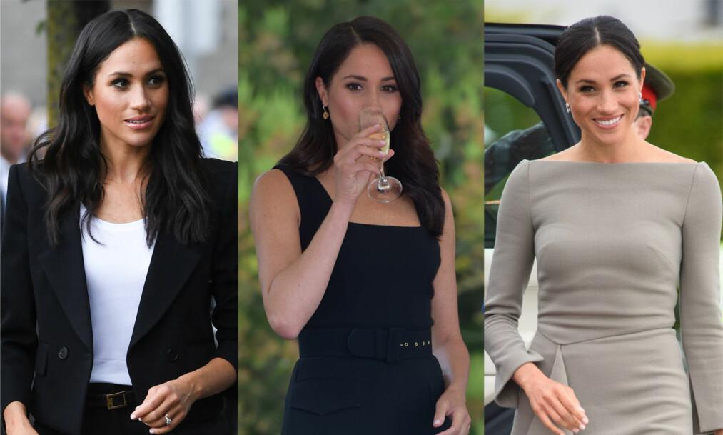 <strong>BADER I LUKSUS:</strong> Det britiske kongehuset har ikke spart på kronene når det gjelder hertuginne Meghans nye garderobe. I løpet av et døgn skal 36-åringen ha dukket opp i antrekk (på bildene) som har en totalverdi på en kvart million kroner. Foto: NTB Scanpix