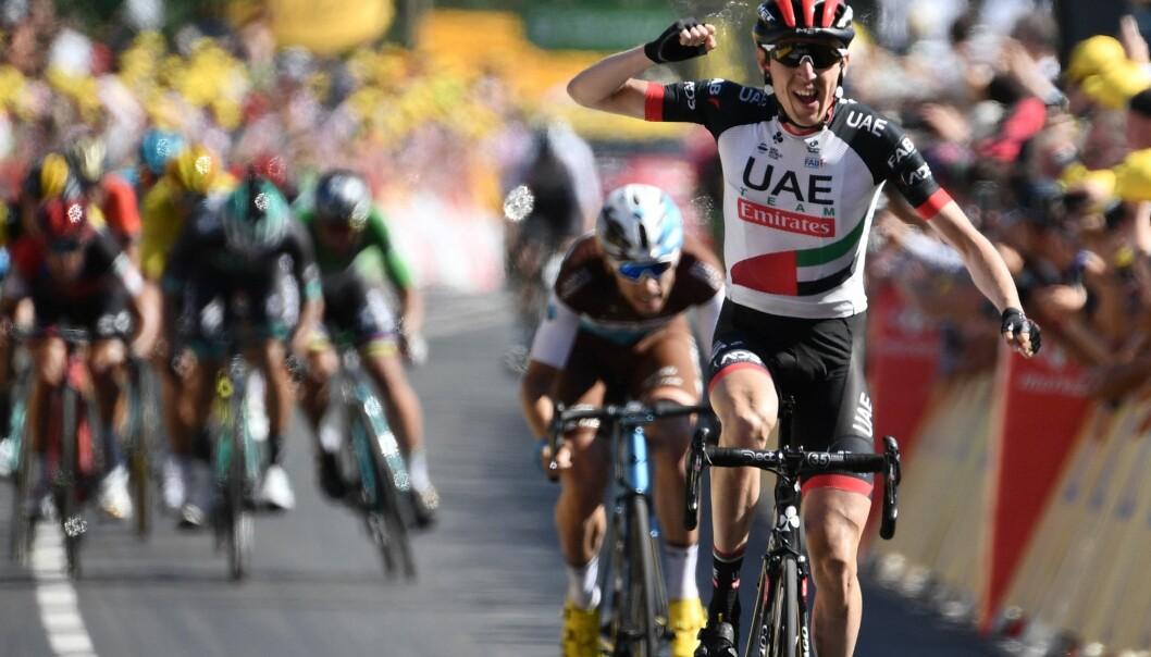 <strong>ENDELIG:</strong> Daniel Martin tok sin første Tour de France-seier siden 2013. Foto: AFP PHOTO / Jeff PACHOUD / ALTERNATIVE CROP