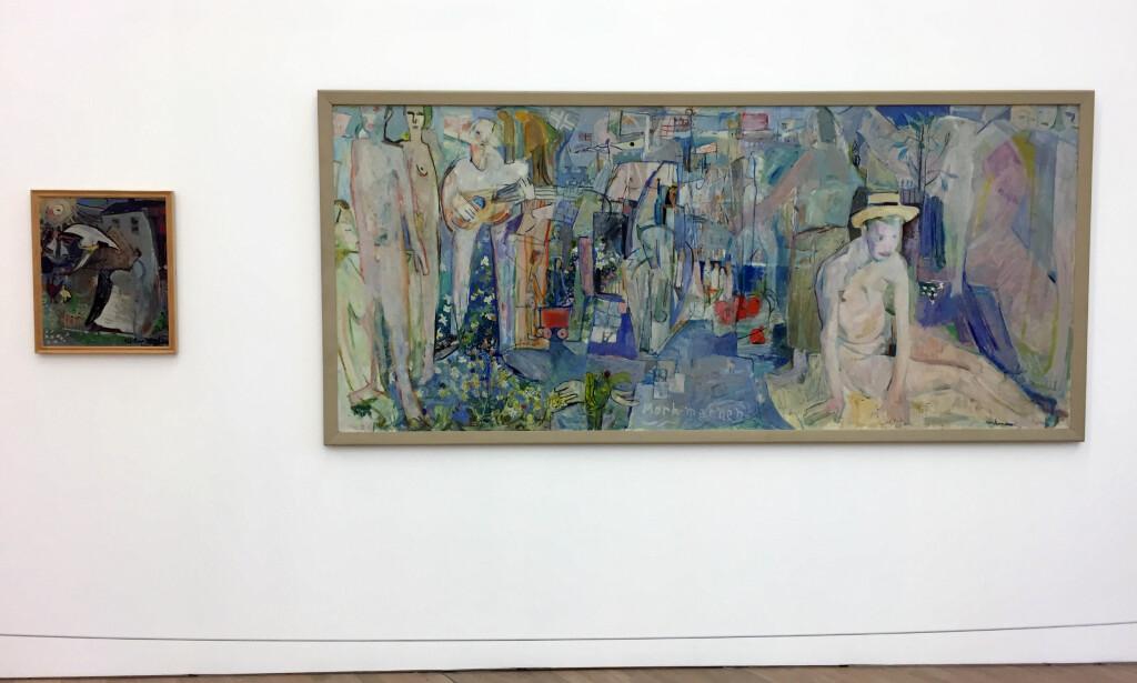 DEN UNGE WEIDEMANN: Sommerutstillingen på Henie Onstad Kunstsenter, «Jakob Weidemann», er også del av kunstsenterets 50-årsmarkering. Presentasjonen av Weidemann legger vekt på kunstnerens arbeid fra 1940-årene og fram til syttiårene. «Komposisjon» (til venstre) og «Mørk-mannen» er begge malt i 1943 da kunstneren var 20 år gammel. FOTO: ARVE RØD
