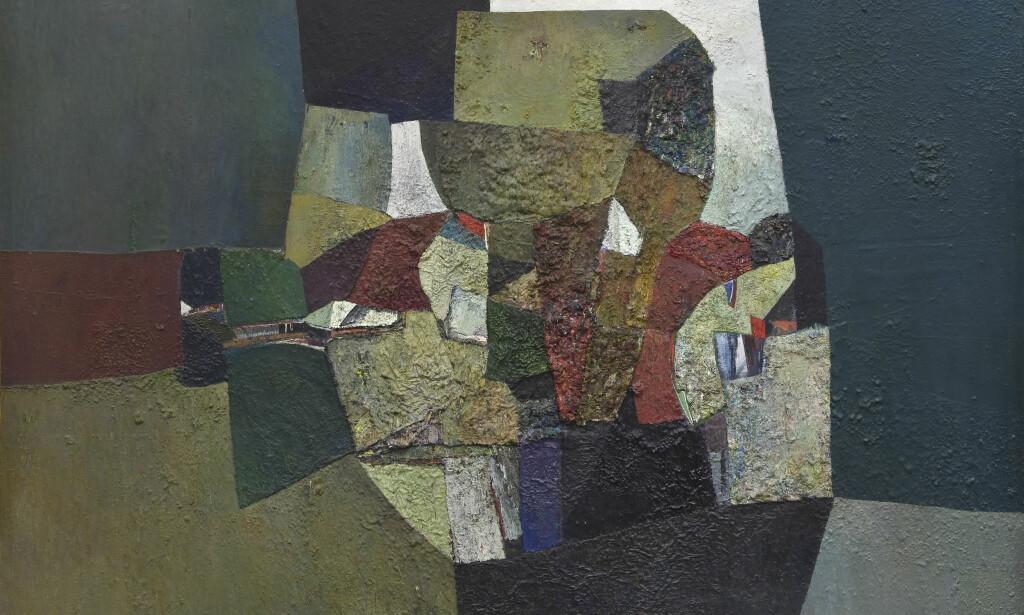 MATERIALBILDE: Skogbunnen har inntatt motivkretsen i «To løv» (1959), et av Weidemanns såkalte «materialbilder» malt i tjukke, pastose lag. FOTO: ØYSTEIN THORVALDSEN/HENIE ONSTAD KUNSTSENTER