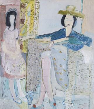 KONTINENTAL PÅVIRKNING: Mange av Weidemanns malerier viser tydelig påvirkning fra kontinental modernisme, som det Matisse-inspirerte «To kvinner i interiør» fra 1942. FOTO: HENIE ONSTAD KUNSTSENTER